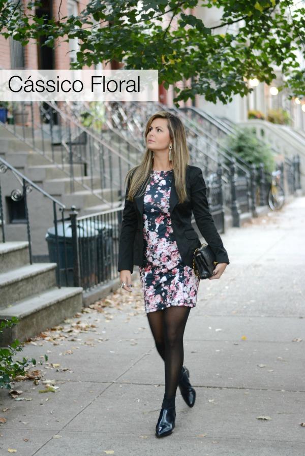 Vestido floral com blaser, new york street chic , Look chic em nova iorque, fashionista em nova iorque, vestido floral com blaser,