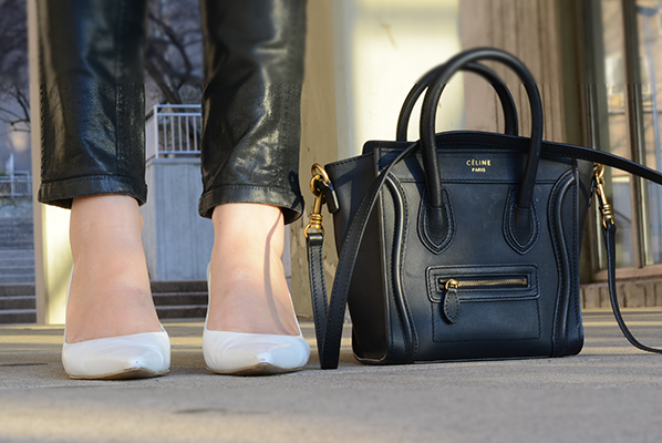 white pumps and black celine bag