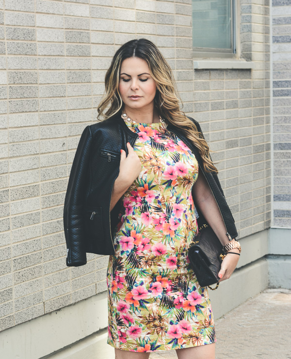 Floral dress and leather valentino rockstud