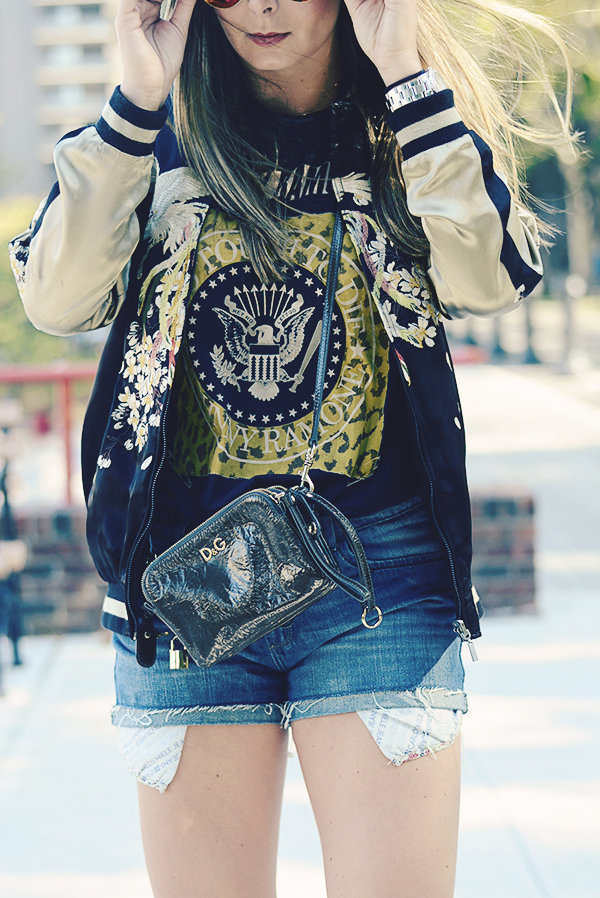 Bomber jacket with shorts music festival outfit