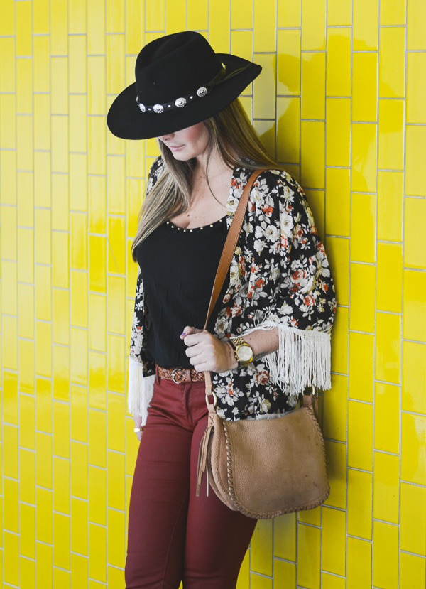 Look boho chic with hat and floral kimono