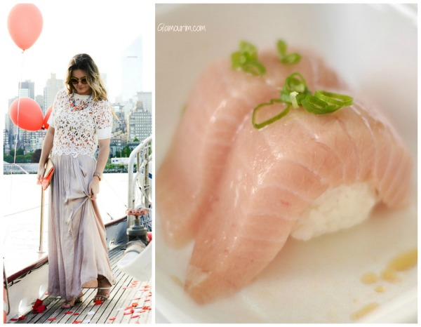 Pastel colors outfit inspired by tuna sushi