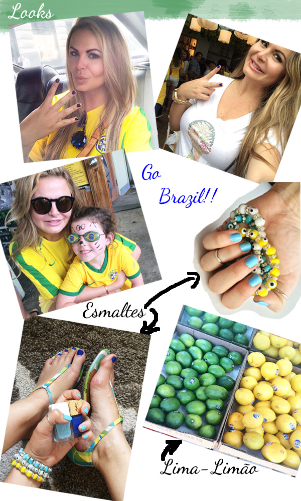 Brazil Worldcup inspiration make up, nails and looks, inspiracao de looks e unhas para a copa do mundo