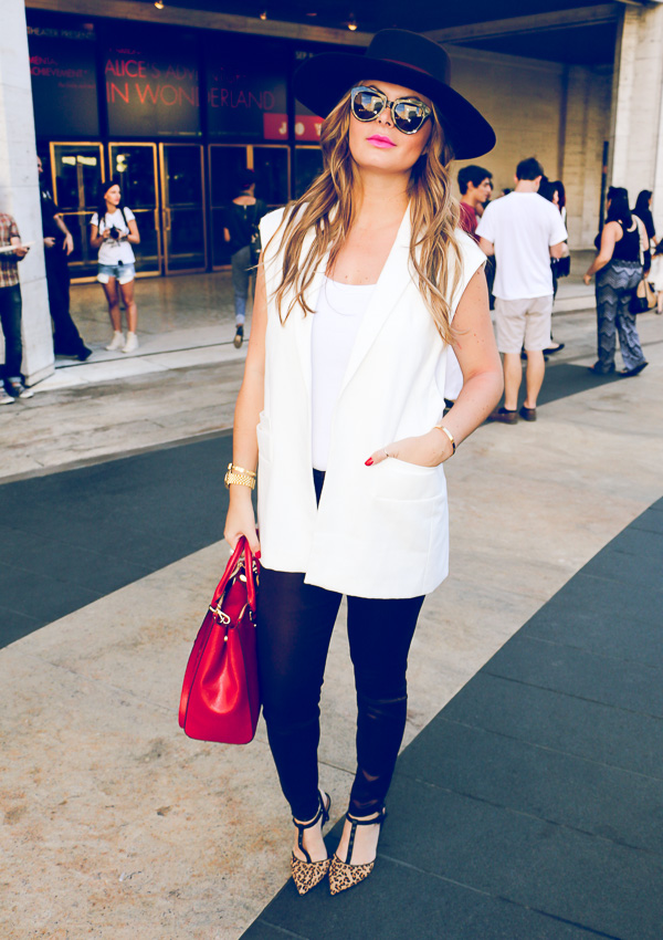 MBFW white long vest and fancy hat