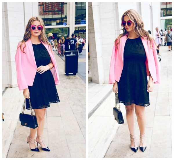 NYFW pinkstylish street style look and  shades