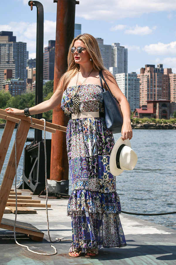 Maxidress vacation outfit and panama hat