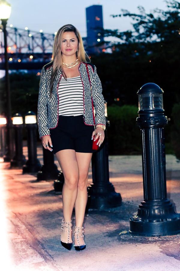 fashionin style with shorts and jacket