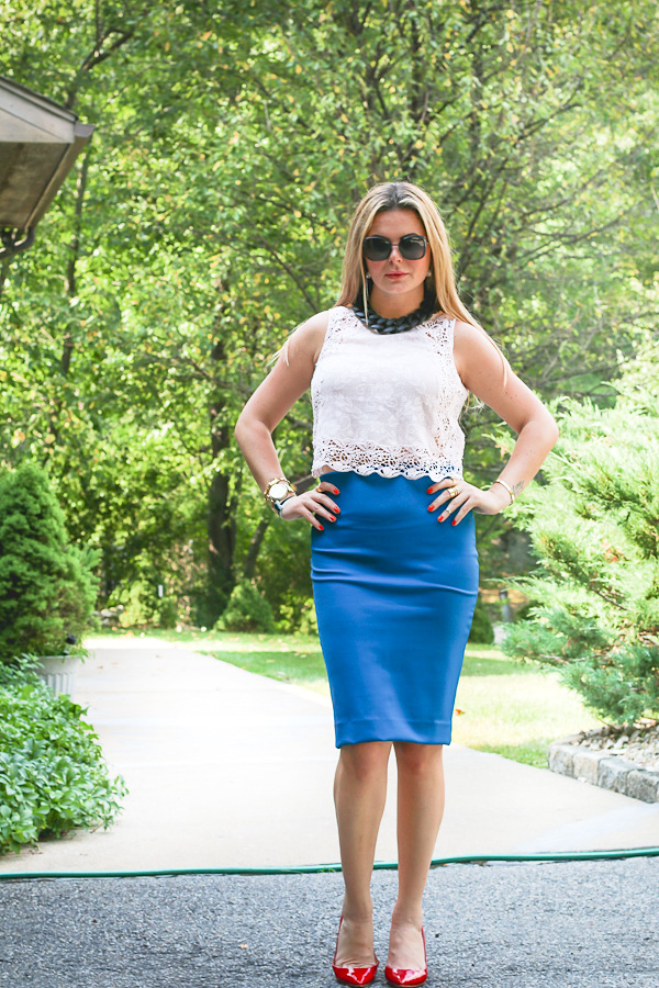 classic and sexy Pencil skirt and cropped lace top