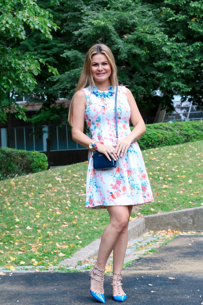 Floral dress combined with valentino rocktud shoes