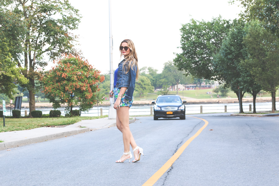 Floral shorts and denim jacket summer chic