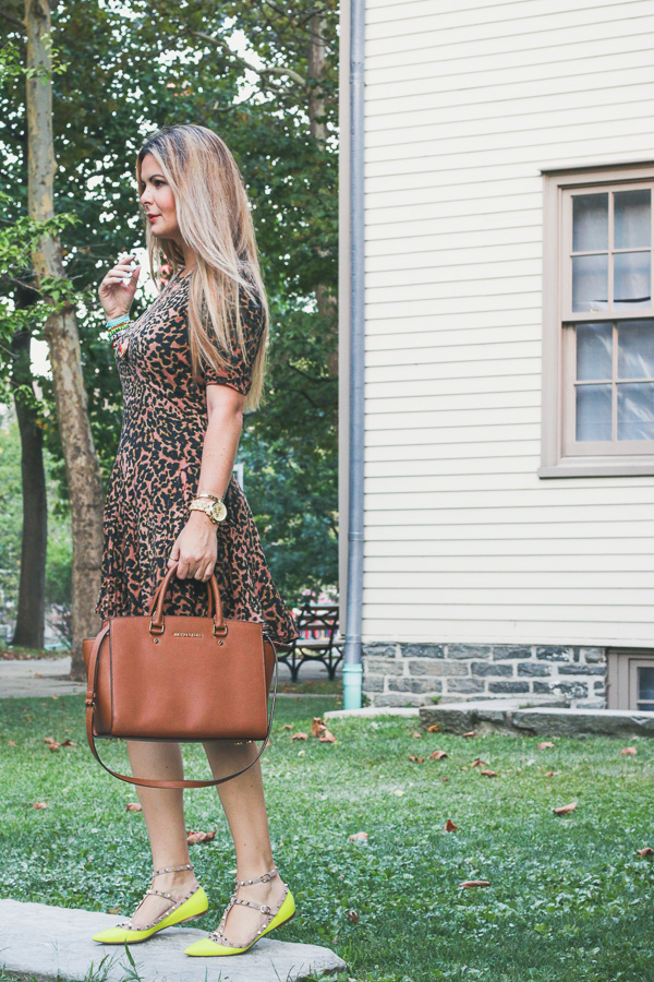 Leopard dress and valentino shoes chic and simple