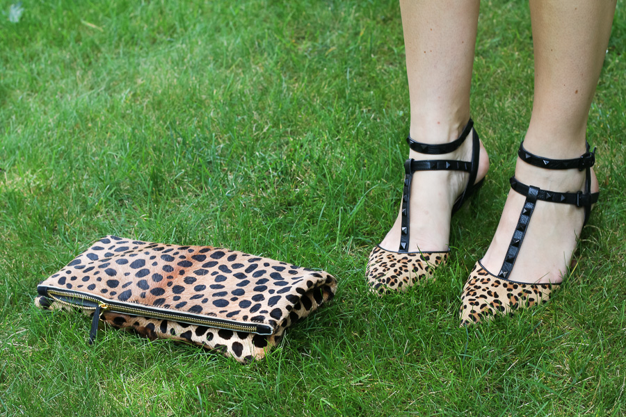 Leopard print shoes and clutch