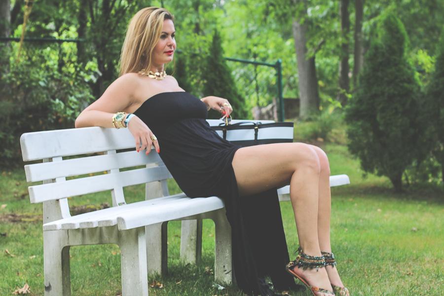 Vestido longo preto de verao