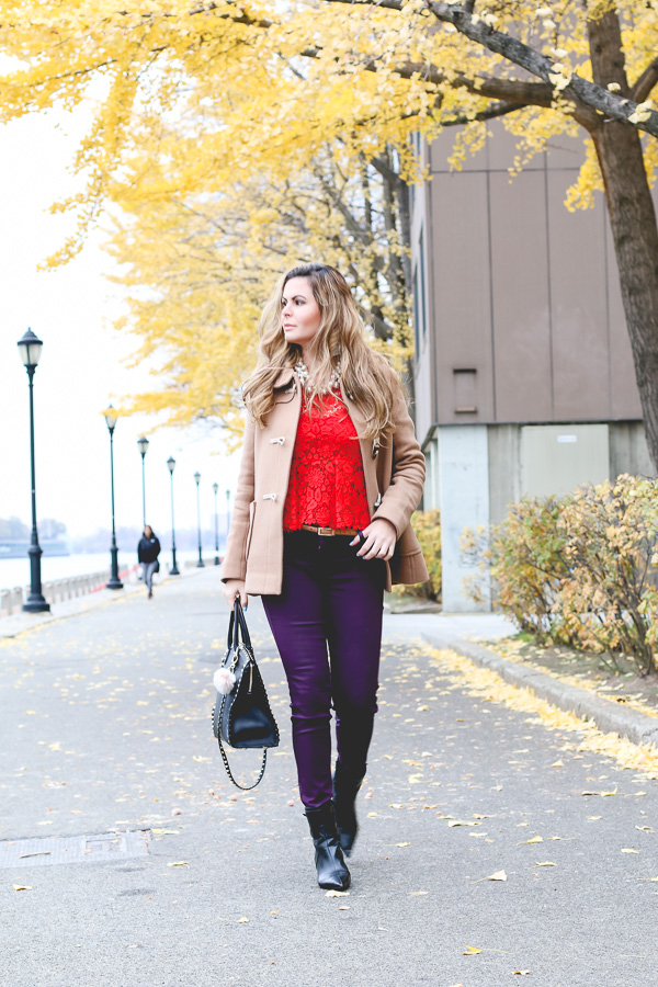 Red and plum outfit for winter