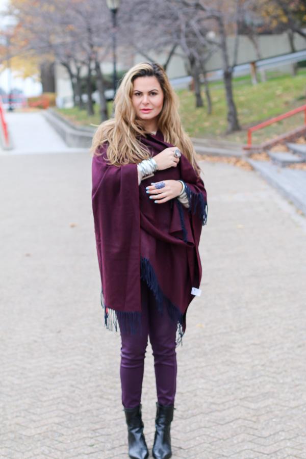 Burgundy wrap cape