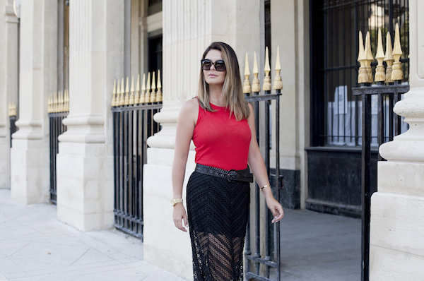 Maxi lace skirt in Paris