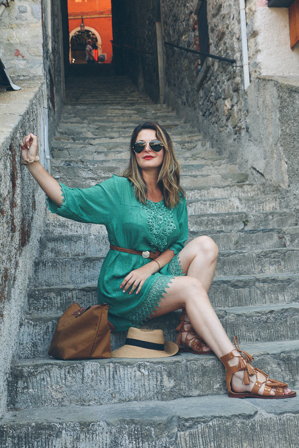 Dress and lace up sandals in Cinque Terre