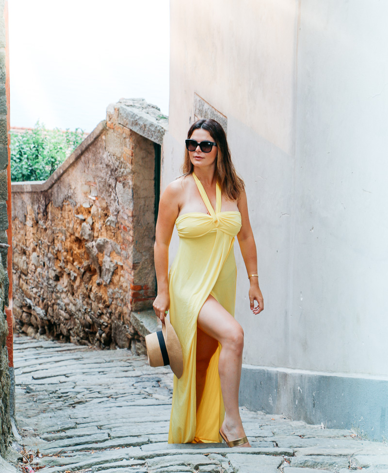 Rocking the yellow maxi dress