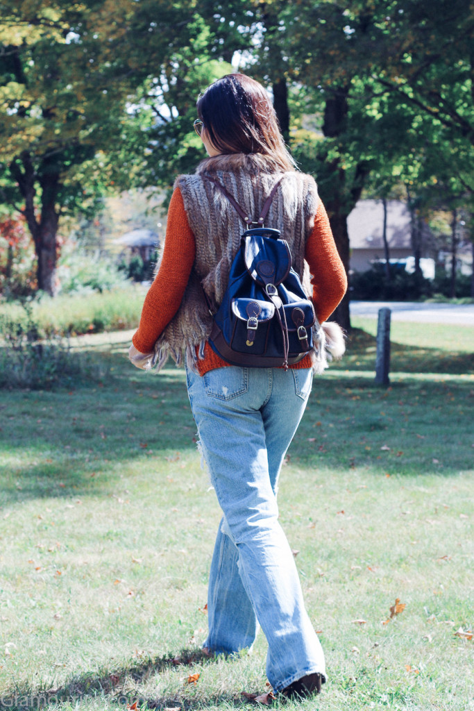 70 inspired flare jeans fall outfit