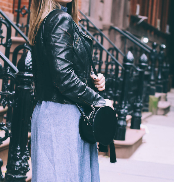 Leather jacket over retro dress
