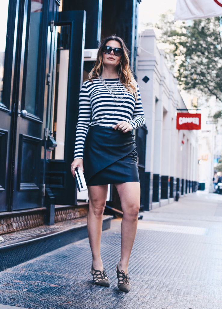 stripes and leather skirt