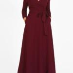 burgundy maxi wrap dress