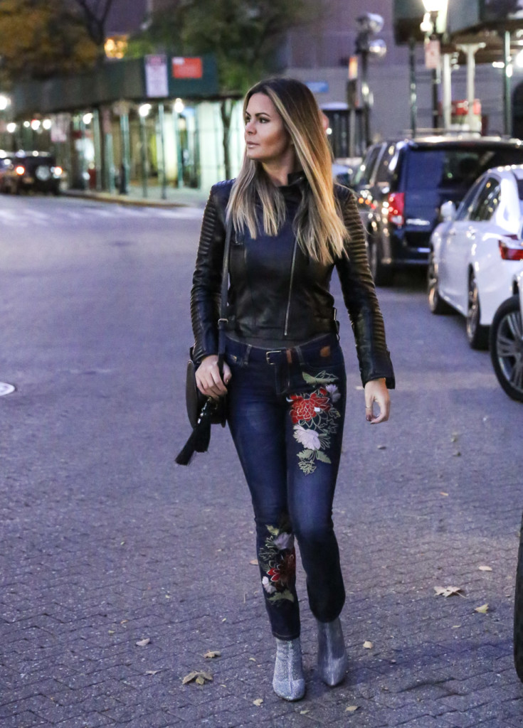Hilma from Glamourim.com wearing eSHAKTI customized Embroidered Jeans