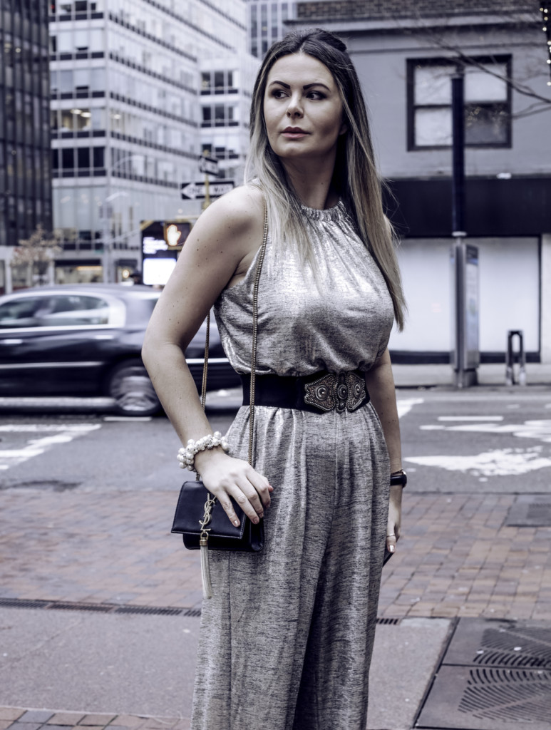 Glamourim lifestyle blogger wearing NY&CO Metallic jumpsuit