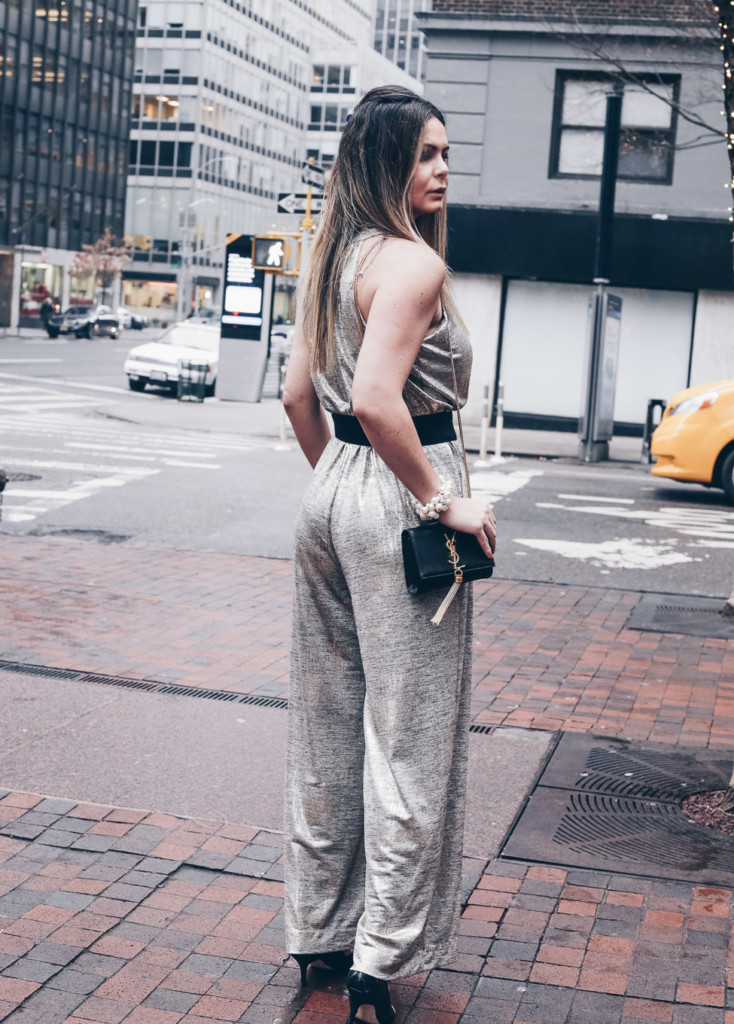 Glamourim lifestyle blogger wearing NY&CO Metallic jumpsuit for new Years's eve