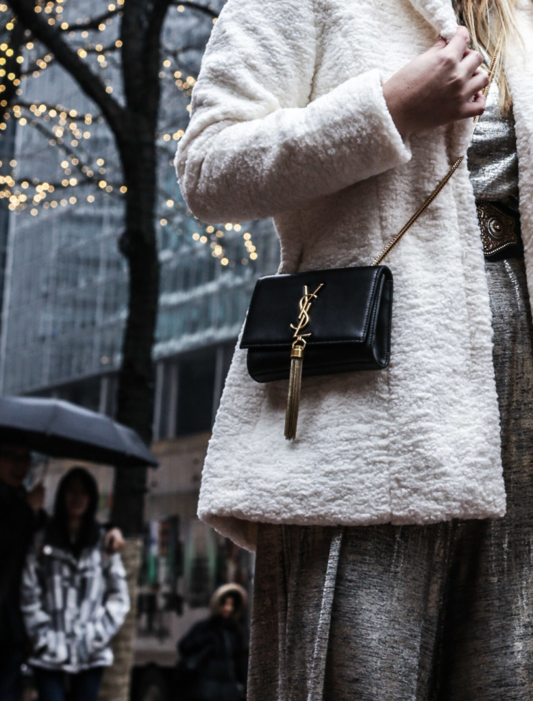 blogger wearing white furry coat by coalition LA during winter in NYC
