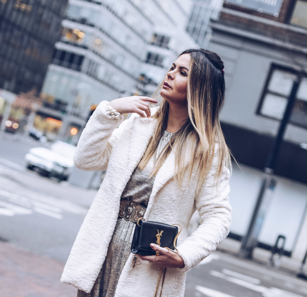 Glamourim lifestyle blogger wearing white furry coat by coalition LA