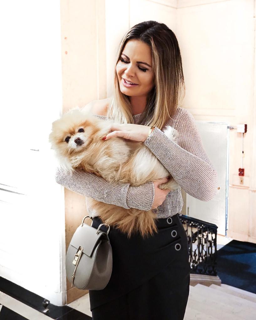 Hilma from glamorim.com with the cutest pomerania dog at Trunk Club NYC