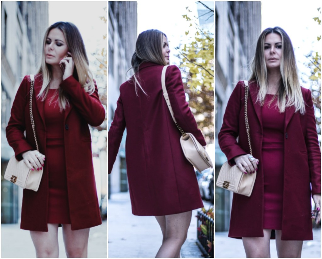 Lifestyle Hilma of Glamourim shows how to wear a Monochromatic Burgundy for the Holiday and all Winter around