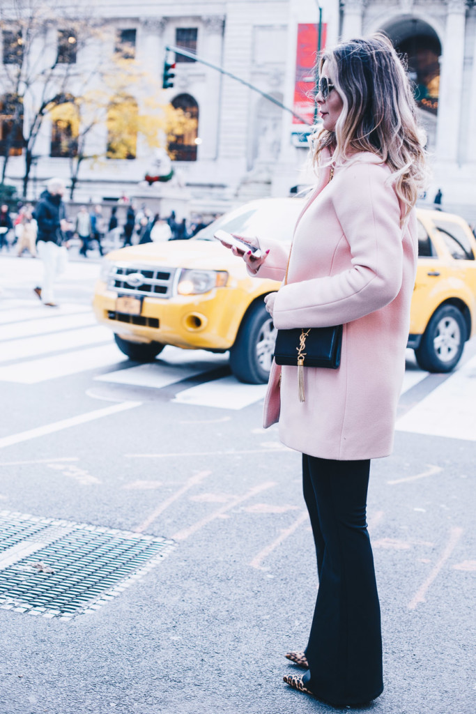 hilma lifestyle blogger wearing j crew cocoon coat and ysl cross body in NYC