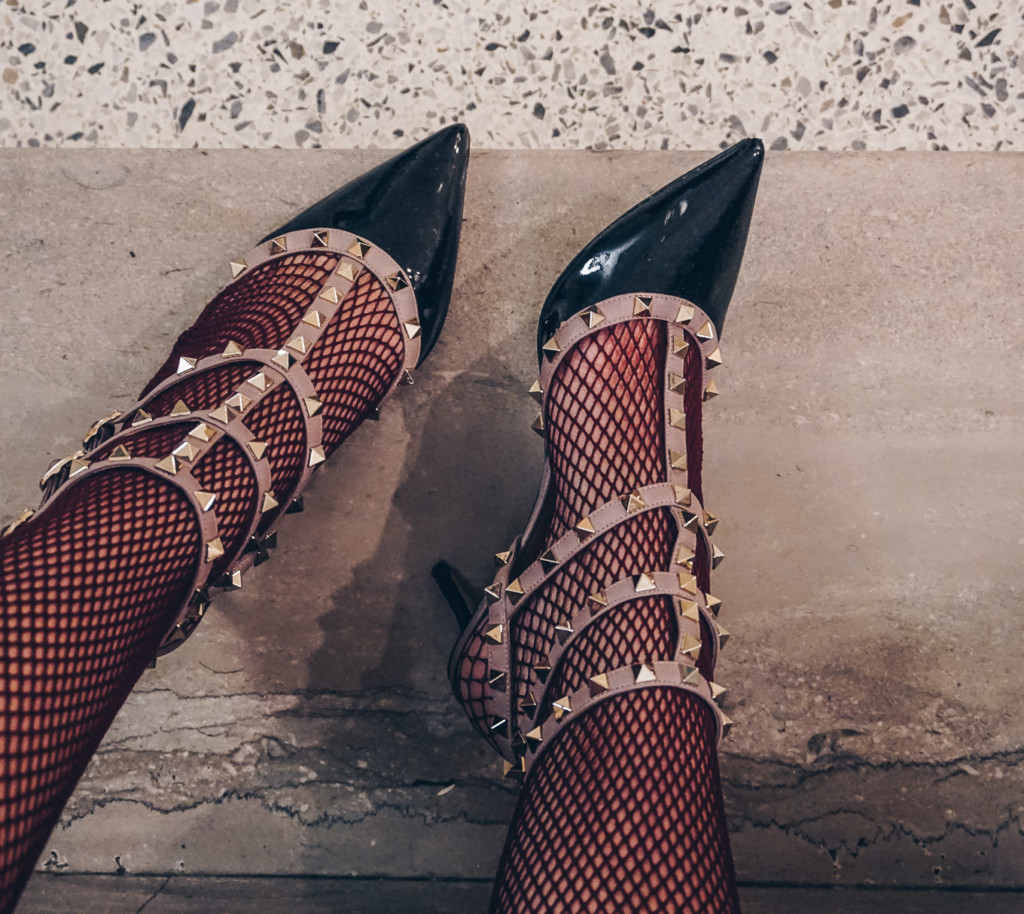 fishnet trend and valentino pumps