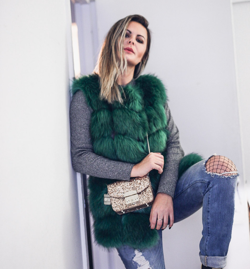 faux fur vest and furla metropoli glitter bag
